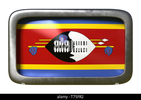 3d rendering of a Kingdom of Swaziland flag on a rusty sign isolated on white background - Stock Photo