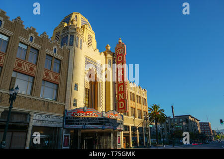 OAKLAND, CALIFORNIA -- APRIL 13, 2019: The morning sun rises on the Fox Oakland Theatre, a concert hall and former movie theater in Downtown Oakland. - Stock Photo