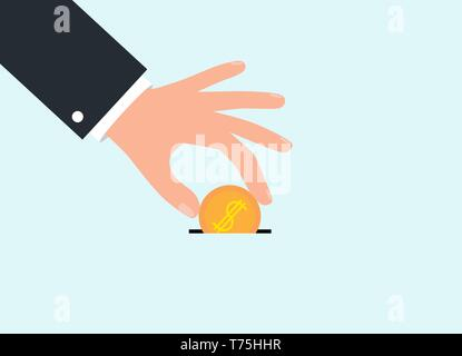 Businessman hand throws gold money coin in moneybox. Donate dollar currency flat design. Vector illustration EPS10 - Stock Photo