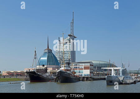 Mediterraneo, ATLANTIC Hotel Sail City, and museum-harbour, Bremerhaven, Bremen, Germany - Stock Photo