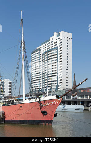 fire ship Elbe 3, museum-harbour and Columbus Center, Bremerhaven, Bremen, Germany - Stock Photo
