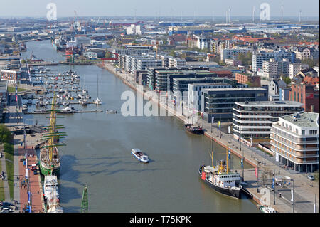 view of New Harbour from the viewing platform of ATLANTIC Hotel Sail City, Bremerhaven, Bremen, Germany - Stock Photo