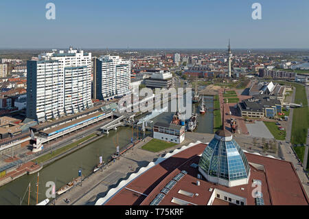 view of Old Harbour and Mediterraneo from the viewing platform of ATLANTIC Hotel Sail City, Bremerhaven, Bremen, Germany - Stock Photo
