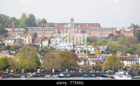 The Royal Naval College, Dartmouth, viewed across the River Dart from the Kingswear side, Dartmouth, Devon, UK - Stock Photo