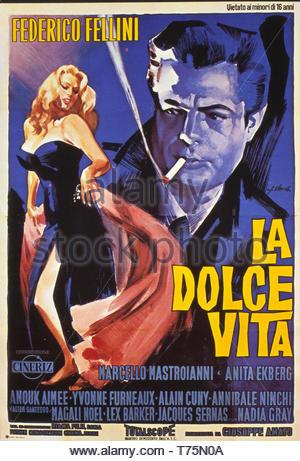 "Movie "" La Dolce Vita "" directed by Federico Fellini  - february 3 1960 - Poster - Stock Photo"