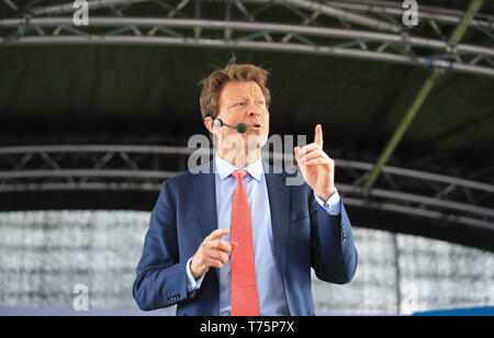 Party chairman Richard Tice during a Brexit Party rally at Mill Farm Sports Village, Wesham, Lancashire. - Stock Photo