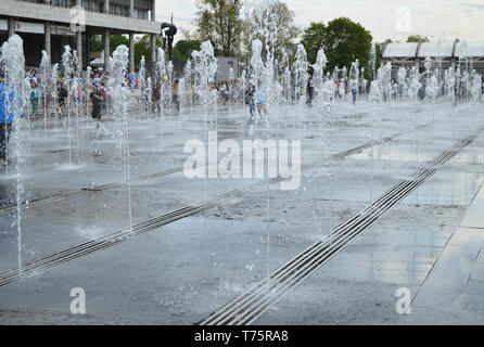 Moscow, Russia - may 20, 2017: the fountain in the square in the Park of arts 'Muzeon' in Moscow, Russia - Stock Photo