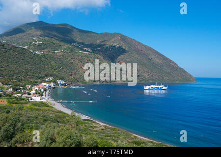 View on the Filicudi Harbor, Filicudi Island, Sicily, Italy - Stock Photo