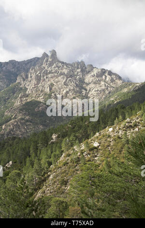 Mountains in the Monte Incudine massif from the Col de Bavella Corsica France - Stock Photo