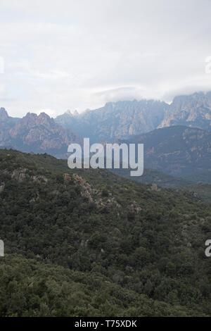 View towards the Monte Incudine range Parc Naturel Regional de Corse Corsica France - Stock Photo