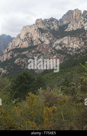 Mountains in the Monte Incudine range Parc Naturel Regional de Corse Corsica France - Stock Photo