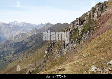 View from the Col du Tourmalet west to Bareges and Luz-St-Sauveur Pyrenees France - Stock Photo