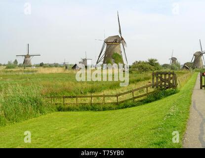 Stunning View of Kinderdijk Historic Dutch Windmills, UNESCO World Heritage Site in The Netherlands - Stock Photo