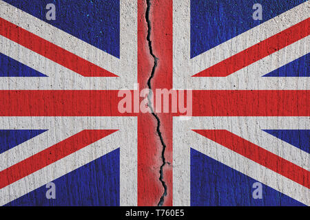 Britain flag breaking apart , cracked  flag - Brexit concept - Stock Photo