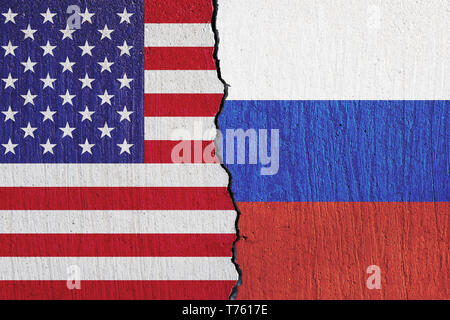 flags United States and Russian painted on the wall
