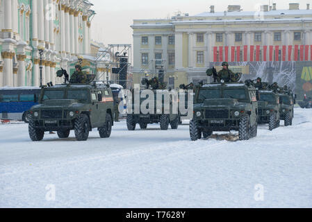 SAINT-PETERSBURG, RUSSIA - JANUARY 24, 2019: Armored vehicles 'Tiger' on the Palace Square. Rehearsal of a military parade in honor of the Day of the  - Stock Photo