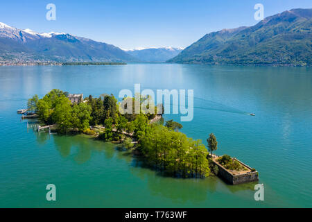 Aerial view of the Brissago Islands near Ascona, on the northern part of the Lake Maggiore. Canton Ticino, Switzerland. - Stock Photo