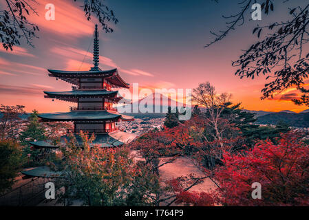Mt. Fuji with Chureito Pagoda and red leaf in the autumn on sunset at Fujiyoshida, Japan.