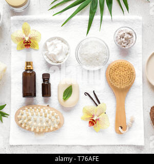 Spa Composition, set, flat lay. Natural spa cosmetics and organic treatment concept on white. - Stock Photo