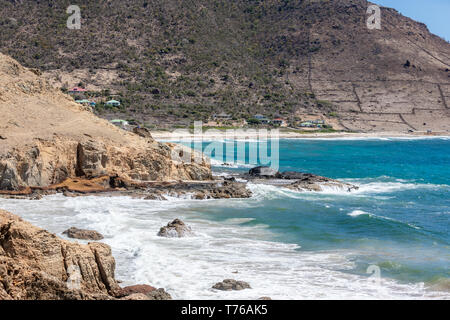 The rocky shore line of Grand Fond, St Barts - Stock Photo