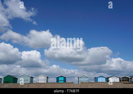 Beach huts, English seaside town, Lancing, East Sussex - Stock Photo
