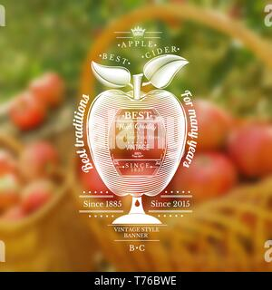 Engraving style apple with barrel for text in the center. Silhouette Cider label in the centre of blurred photo of red apples in a basket - Stock Photo