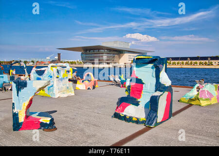 Copenhagen, Denmark-2 August, 2018: The National Opera House located on the island of Holmen in central Copenhagen. One of the most expensive opera ho - Stock Photo