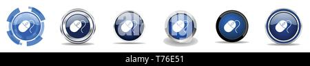 Silver metallic chrome border mouse vector icons, set of click web buttons, round computer toll blue signs in eps 10 - Stock Photo