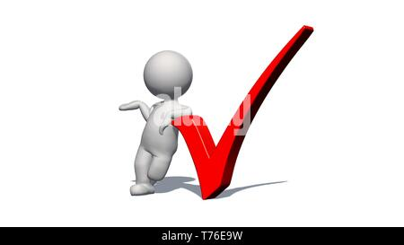 check sign - white 3D man with red check mark  - 3D rendering - Stock Photo