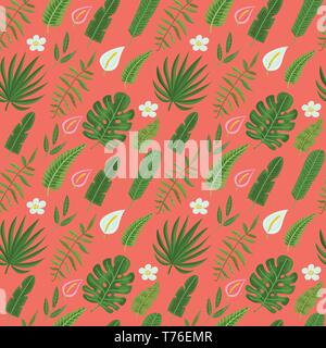 Seamless pattern with tropical leaves and flowers in coralline background. Vector illustration for print for clothes, wallpaper, textile and greeting  - Stock Photo