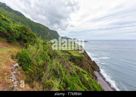 Views from a hiking trail near Ponta da Faja village on Flores island in the Azores. - Stock Photo