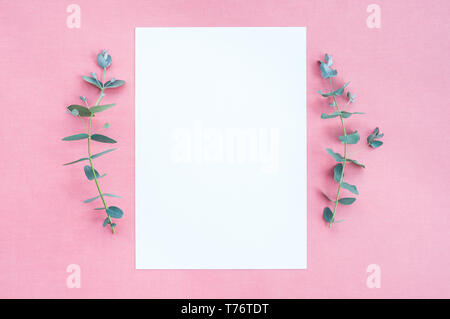 Eucalyptus branches and blank paper sheet with copy space, on pink canvas background. - Stock Photo