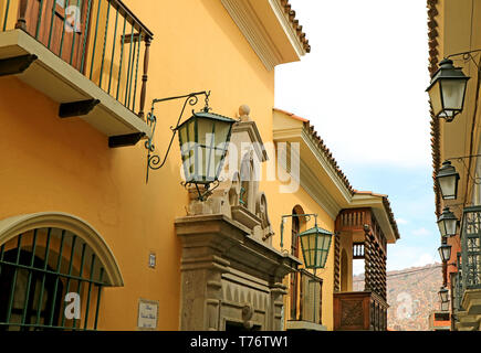The Historic Colonial Buildings on Jaen Street or Calle Jaen in La Paz, Bolivia - Stock Photo