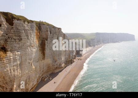 France, Normandy: Rock arc of beach Etretat - Stock Photo