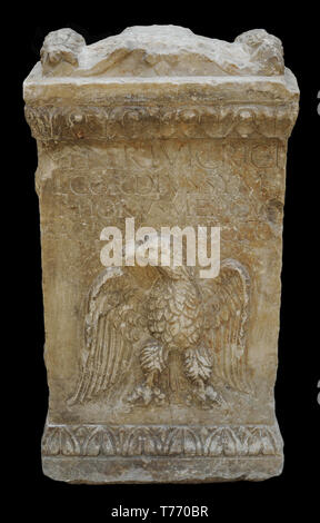 Altar stone dedicated to Venus. Late 2nd century AD. Marble. From Augusta Emerita (Merida, Badajoz province, Extremadura, Spain). National Archaeological Museum. Madrid. Spain. - Stock Photo