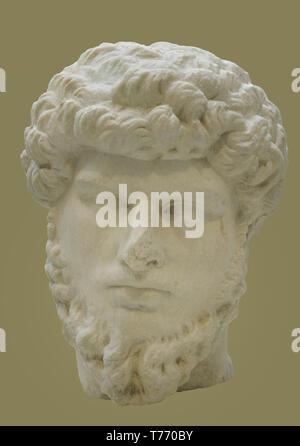 Lucius Verus (Lucius Aurelius Verus Augustus) (130-169). Roman emperor. Nerva-Antonine Dynasty. Bust. Marble. 161-169 AD. From Calvi (Cales, Italy). National Archaeological Museum. Madrid. Spain. - Stock Photo