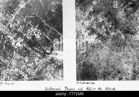 Two seperate black and white British aerial photographs, taken on 9th July 1916, and 1st September 1916, of the village of Guillemot in the Somme area of Northern France. The photographs show the complete destruction of the area after the fighting during the war. - Stock Photo
