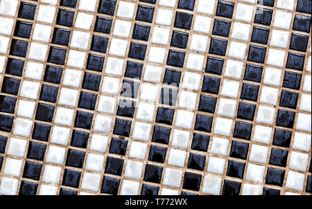 Black and white ceramic colorful tiles mosaic composition pattern background. Abstract colorful mosaic texture - Stock Photo