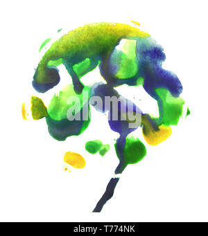 Spotted tree. Yellow, blue and green watercolor painting. Abstraction paint spots on a white background.