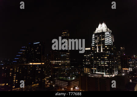 Panoramic view of downtown Austin, Texas, at night - Stock Photo