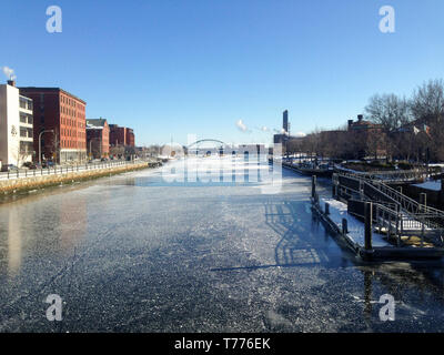 Providence river as seen from S water street with ice during winter in Providence - Stock Photo