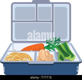 Plastic lunchbox icon. Cartoon of plastic lunchbox vector icon for web design isolated on white background - Stock Photo
