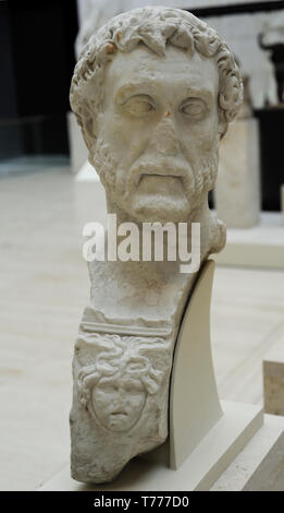 Antoninus Pius (86-161 AD). Roman emperor. Nerva-Antonine dynasty. Bust. 138-149 AD. Marble. From Puente Genil (Cordoba province, Andalusia, Spain). National Archaeological Museum. Madrid. Spain. - Stock Photo