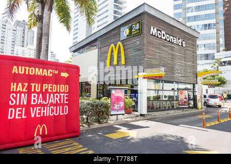 Cartagena Colombia Bocagrande McDonald's hamburgers fast food restaurant drive thru through exterior Spanish language Automac Spanish language - Stock Photo