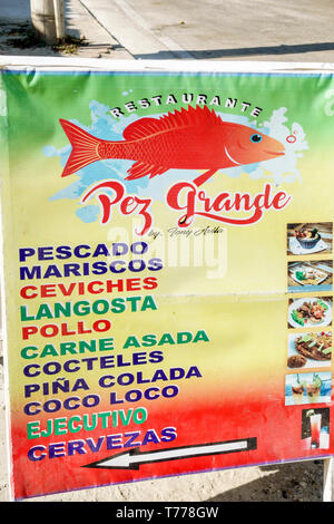 Cartagena Colombia El Laguito Restaurante Pez Grande restaurant seafood Spanish language typical food fish ceviches ceviche sign - Stock Photo