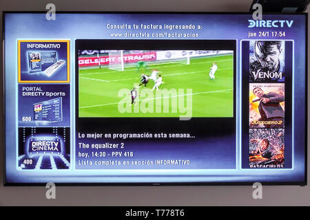 Cartagena Colombia TV television monitor screen flat screen DirecTV programming guide Spanish language - Stock Photo