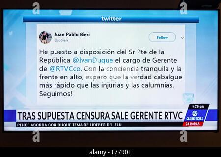 Cartagena Colombia TV television monitor screen flat screen news Juan Pablo Bieri RTVC scandal allegations Spanish language twitter image - Stock Photo