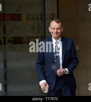 London, UK. 5th May 2019. Andrew Marr leaves the BBC after this morning's Andrew Marr Show. Credit: Thomas Bowles/Alamy Live News - Stock Photo