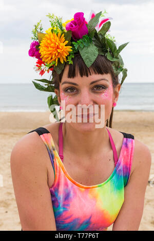 Boscombe, Bournemouth, Dorset, UK. 5th May 2019. Bournemouth Emerging Arts Fringe (BEAF) Festival attracts visitors at Boscombe. Reefiesta Urban Reef tropical tiki takeover - Lottie Lucid hula hooper portrait. Credit: Carolyn Jenkins/Alamy Live News