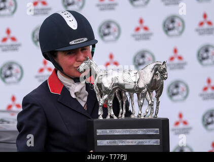 Badminton Estate, Badminton, UK. 5th May, 2019. Mitsubishi Motors Badminton Horse Trials, day 5; Piggy French (GBR) kisses the winners trophy after winning Badminton 2019 riding VANIR KAMIRA on day 5 of the 2019 Badminton Horse Trials Credit: Action Plus Sports/Alamy Live News - Stock Photo